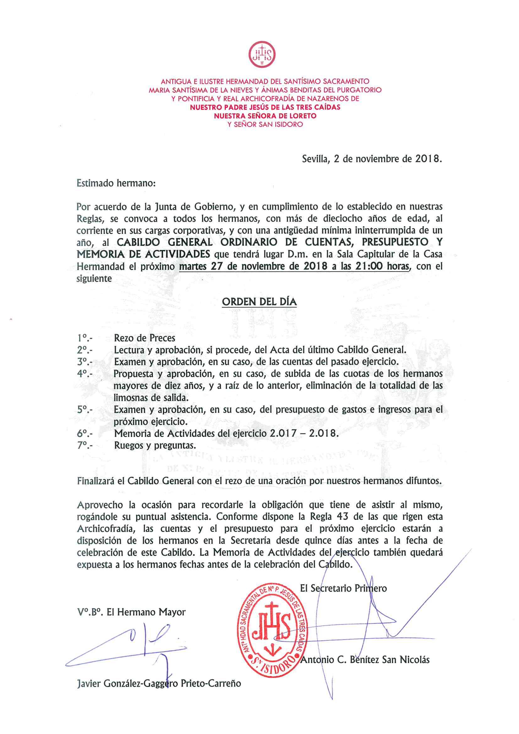 Citación Cabildo General cuentas 2018